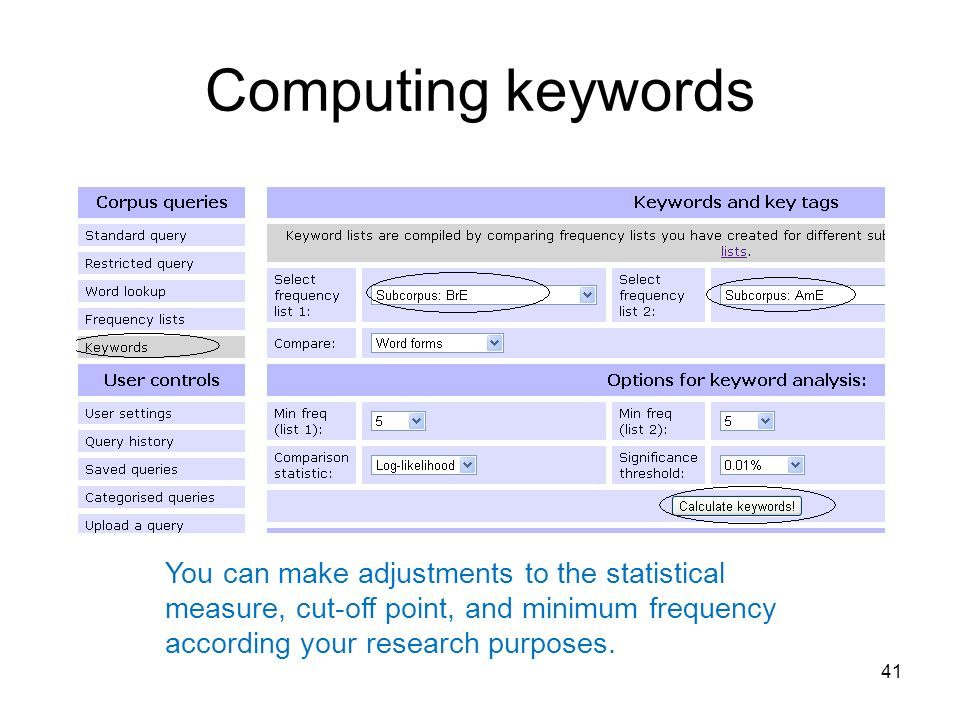 Computing keywords 41 You can make adjustments to the statistical measure, cut-off point, and minimum frequency according your research purposes.