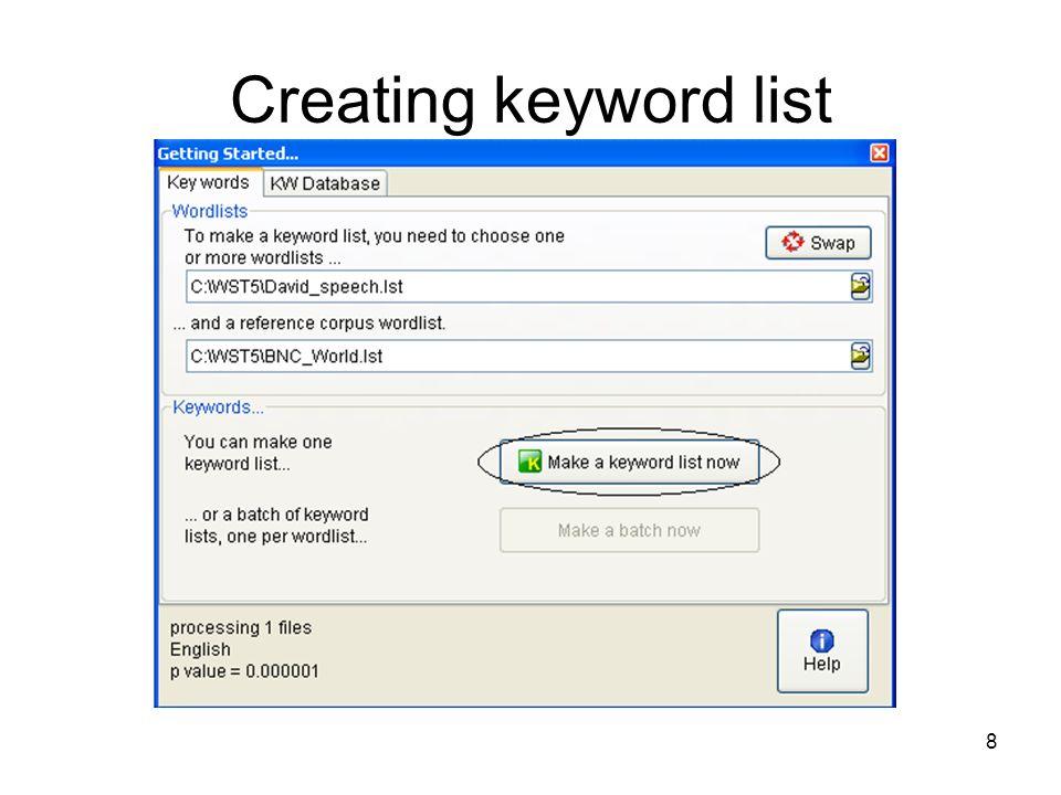 Creating keyword list 8
