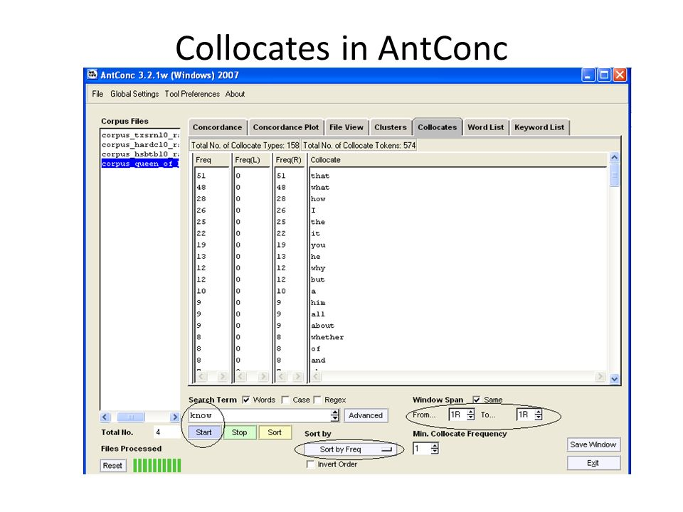 Collocates in AntConc
