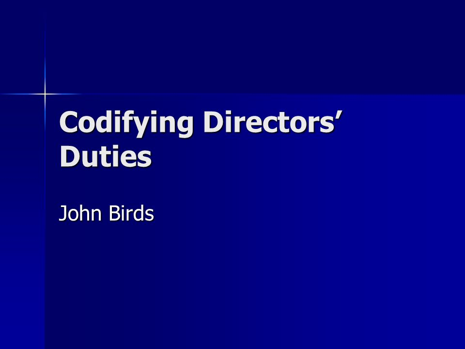 Codifying Directors Duties John Birds