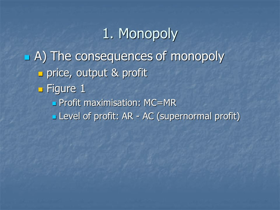 1. Monopoly A) The consequences of monopoly A) The consequences of monopoly price, output & profit price, output & profit Figure 1 Figure 1 Profit max
