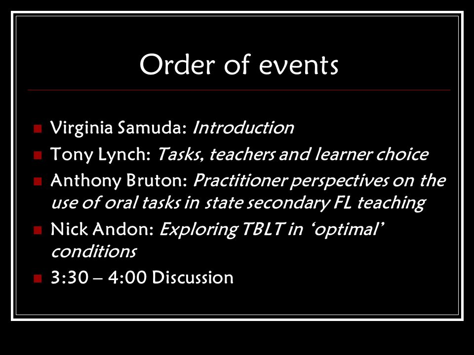 Order of events Virginia Samuda: Introduction Tony Lynch: Tasks, teachers and learner choice Anthony Bruton: Practitioner perspectives on the use of o