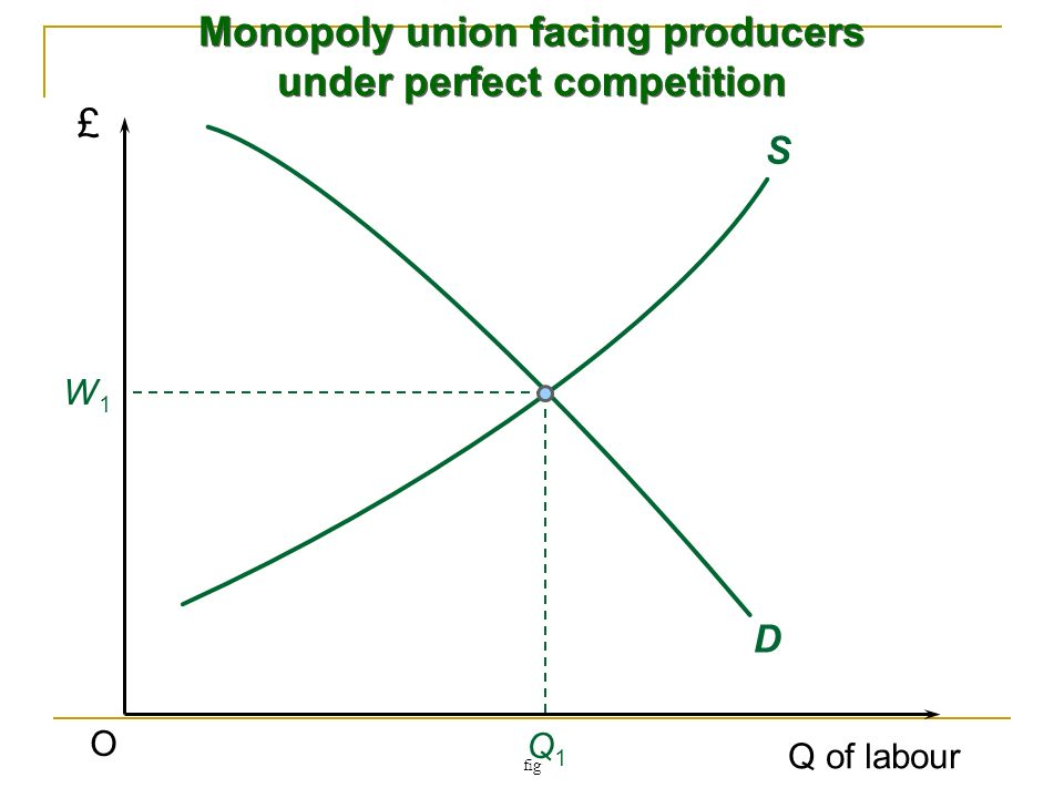 B) Bilateral monopoly Union has power in the labour market Firm has power in the product market Outcome depends on bargaining strength of the union strength of the firm No equilibrium; range of outcomes maximum W is where MC L = MRP minimum W is given by the monopsony outcome See Figure 2
