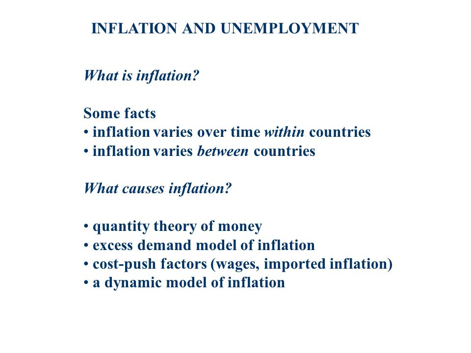 INFLATION AND UNEMPLOYMENT What is inflation? Some facts inflation varies over time within countries inflation varies between countries What causes in
