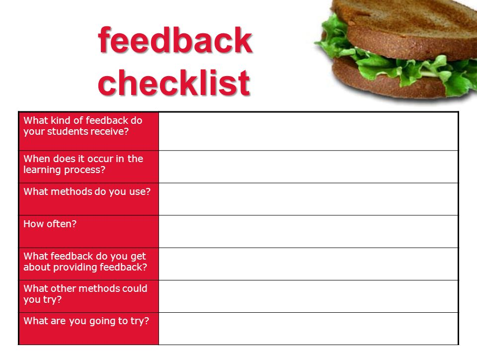 feedback checklist What kind of feedback do your students receive.