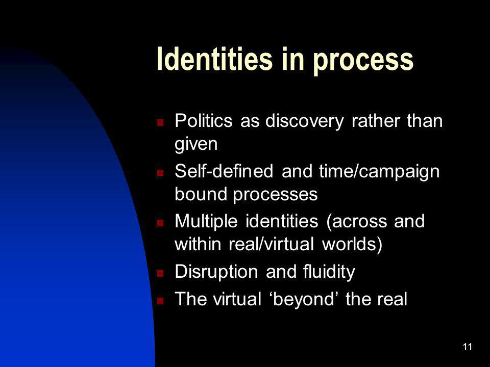 11 Identities in process Politics as discovery rather than given Self-defined and time/campaign bound processes Multiple identities (across and within real/virtual worlds) Disruption and fluidity The virtual beyond the real