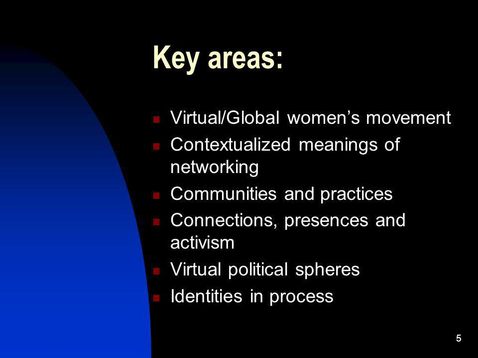6 Virtual/Global womens movement Feminist International Relations Transcendent politics (New spaces, new forums, new processes) APC Womens Programme WSIS Gender Caucus