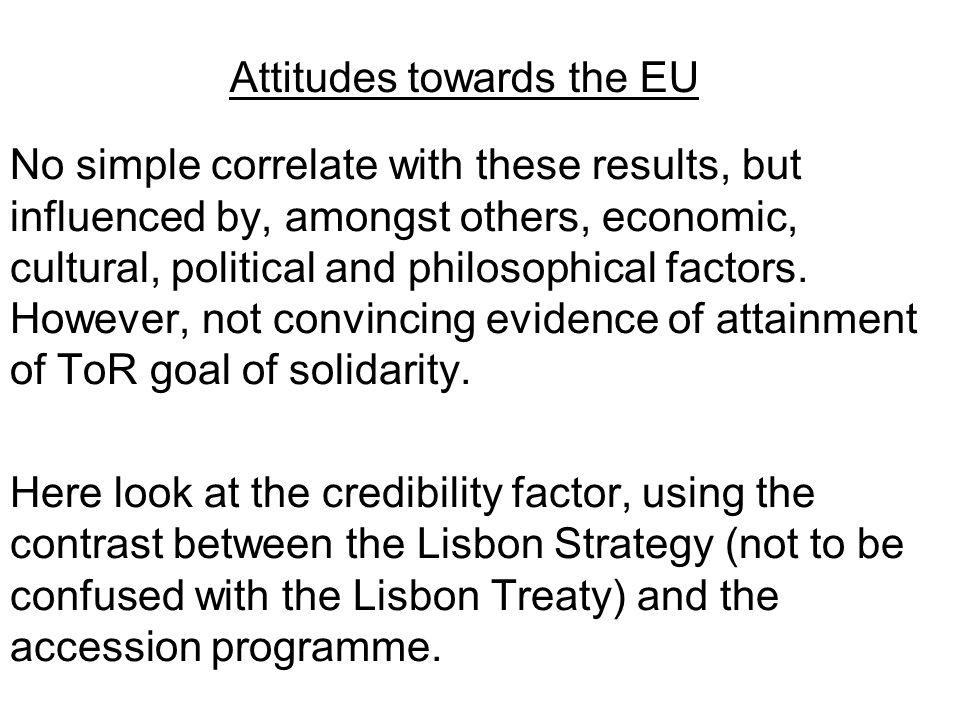 Attitudes towards the EU No simple correlate with these results, but influenced by, amongst others, economic, cultural, political and philosophical fa