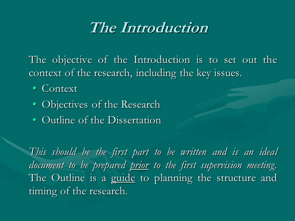 The Introduction The objective of the Introduction is to set out the context of the research, including the key issues. ContextContext Objectives of t