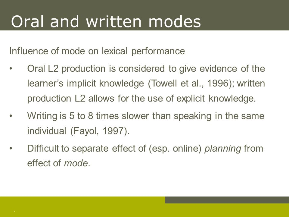. Oral and written modes Influence of mode on lexical performance Oral L2 production is considered to give evidence of the learners implicit knowledge