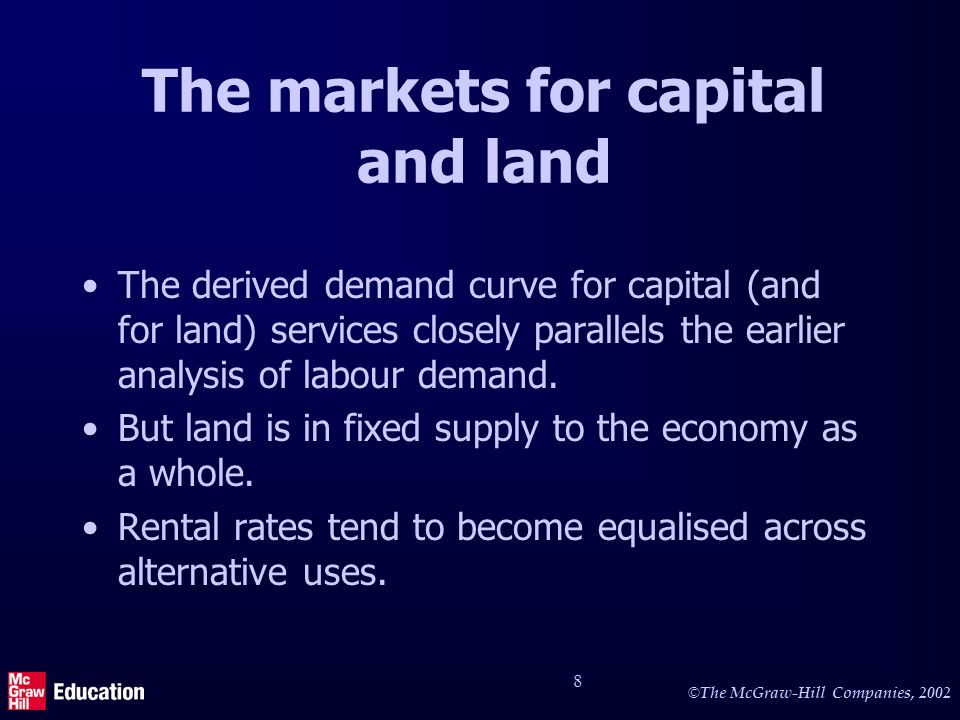 © The McGraw-Hill Companies, 2002 8 The markets for capital and land The derived demand curve for capital (and for land) services closely parallels the earlier analysis of labour demand.