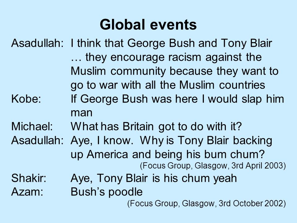 Asadullah:I think that George Bush and Tony Blair … they encourage racism against the Muslim community because they want to go to war with all the Muslim countries Kobe:If George Bush was here I would slap him man Michael:What has Britain got to do with it.