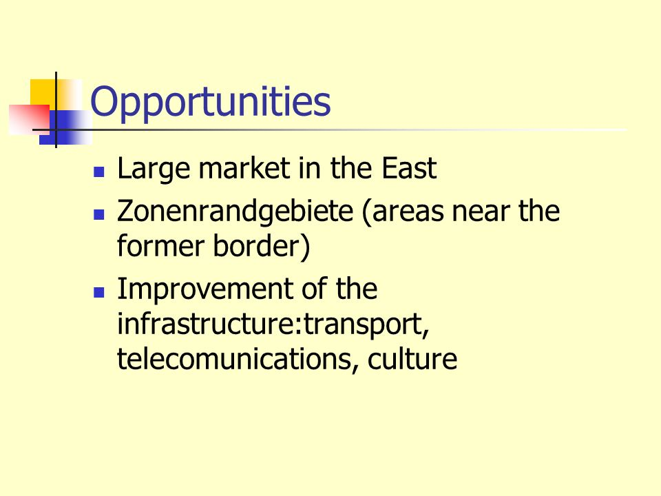 Opportunities Large market in the East Zonenrandgebiete (areas near the former border) Improvement of the infrastructure:transport, telecomunications,