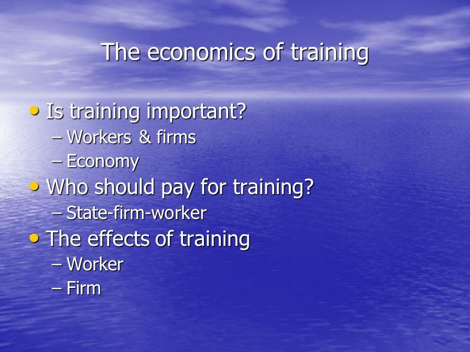 The economics of training Is training important? Is training important? –Workers & firms –Economy Who should pay for training? Who should pay for trai