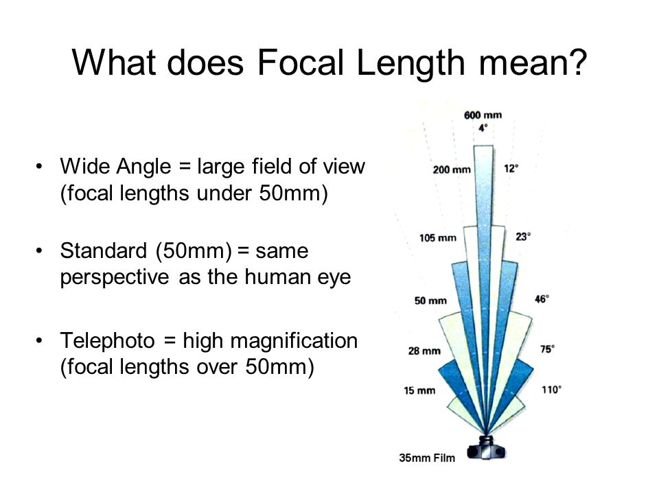 What does Focal Length mean? Wide Angle = large field of view (focal lengths under 50mm) Standard (50mm) = same perspective as the human eye Telephoto