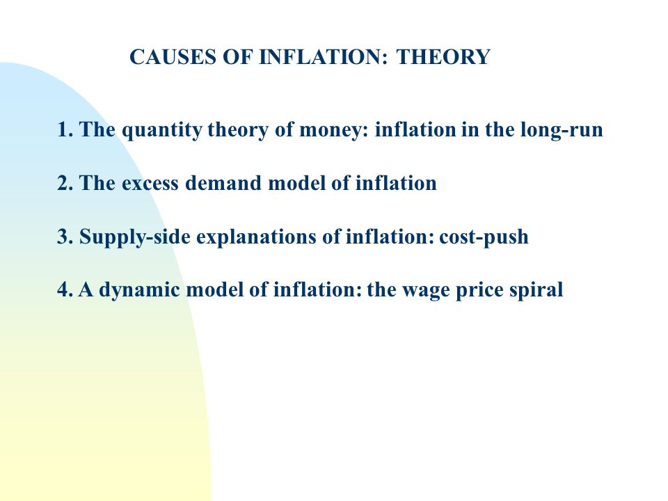 CAUSES OF INFLATION: THEORY 1. The quantity theory of money: inflation in the long-run 2. The excess demand model of inflation 3. Supply-side explanat