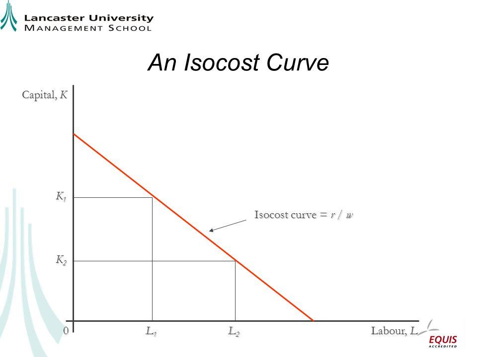 An Isocost Curve Capital, K Labour, L 0 K1K1K1K1 L1L1L1L1 L2L2L2L2 K2K2K2K2 Isocost curve = r / w