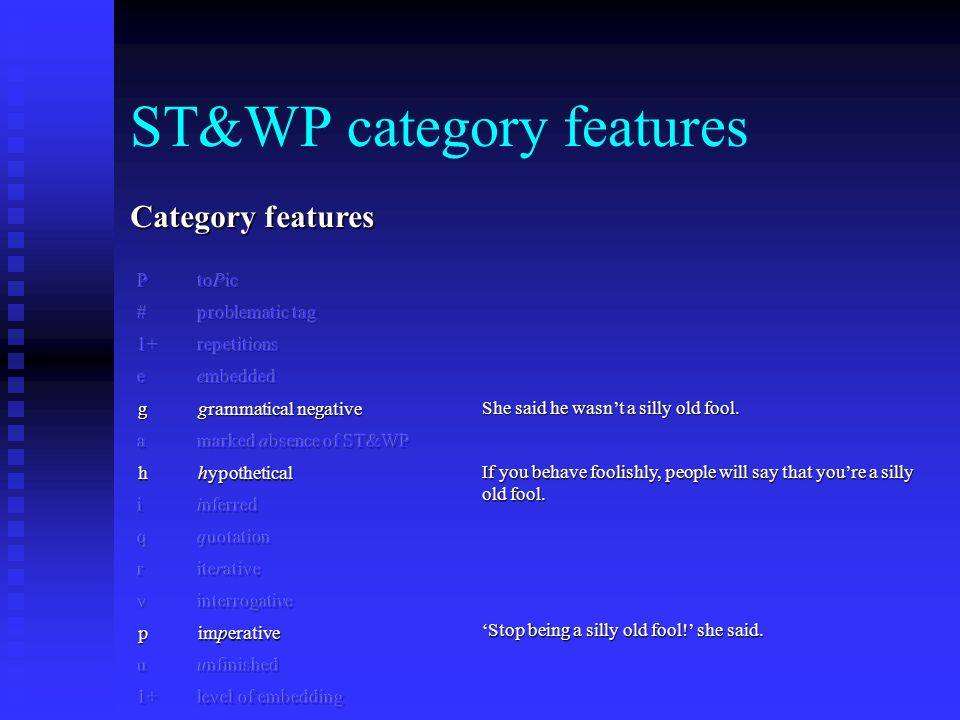 ST&WP category features Category features P toPic # problematic tag 1+repetitions e embedded g grammatical negative a marked absence of ST&WP h hypothetical i inferred q quotation r iterative v interrogative p imperative u unfinished 1+ level of embedding