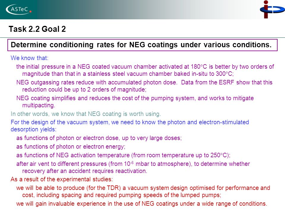 Task 2.2 Goal 2 Determine conditioning rates for NEG coatings under various conditions. We know that: the initial pressure in a NEG coated vacuum cham