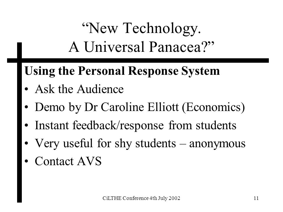 CiLTHE Conference 4th July 200211 New Technology. A Universal Panacea.