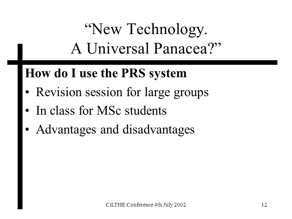 CiLTHE Conference 4th July 200212 New Technology. A Universal Panacea.