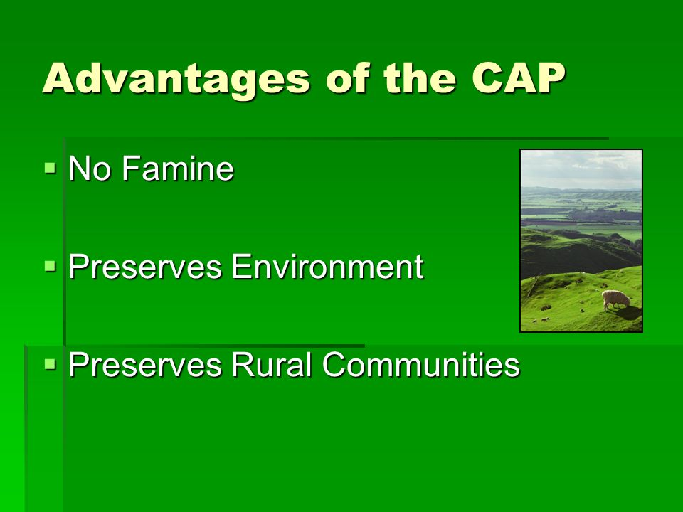 Advantages of the CAP No Famine No Famine Preserves Environment Preserves Environment Preserves Rural Communities Preserves Rural Communities