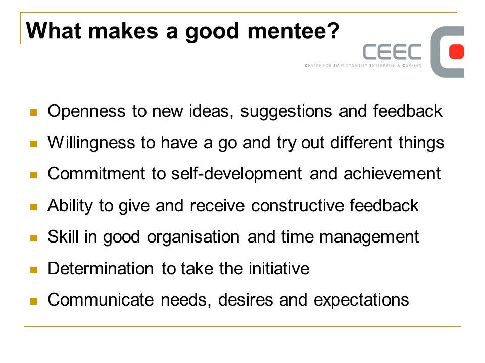 What makes a good mentee.