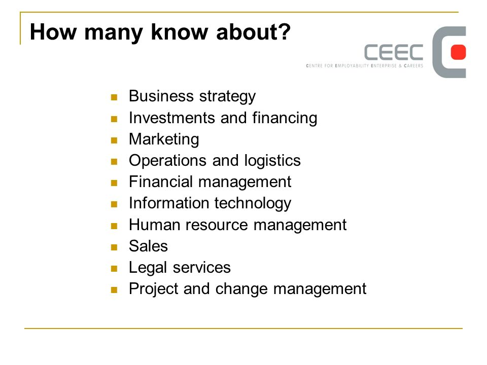 How many know about? Business strategy Investments and financing Marketing Operations and logistics Financial management Information technology Human
