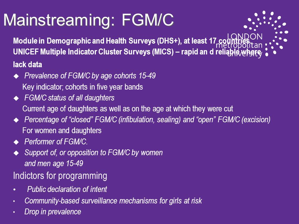 Mainstreaming: FGM/C Module in Demographic and Health Surveys (DHS+), at least 17 countries.