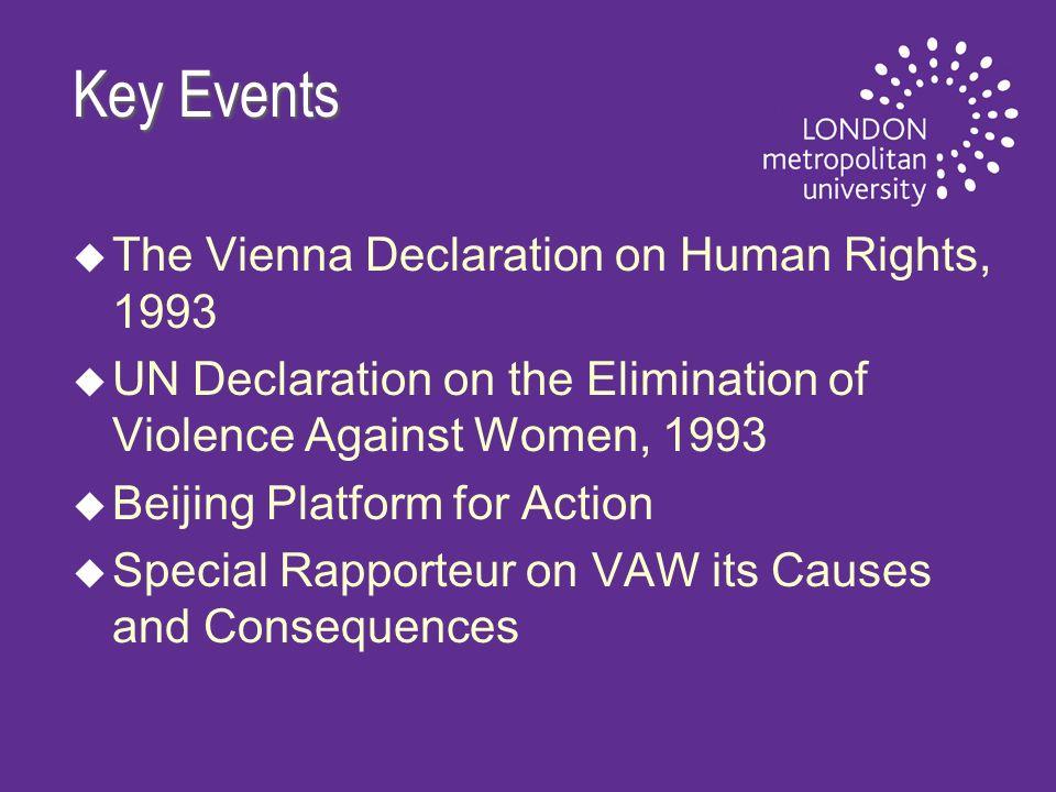 Key Events u u The Vienna Declaration on Human Rights, 1993 u u UN Declaration on the Elimination of Violence Against Women, 1993 u u Beijing Platform