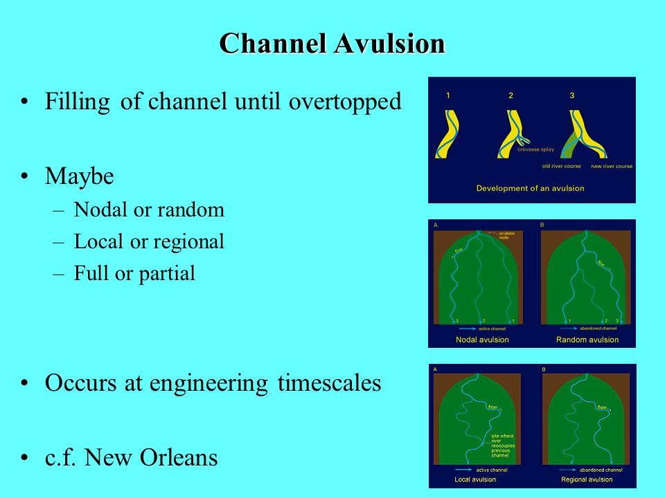 Channel Avulsion Filling of channel until overtopped Maybe –Nodal or random –Local or regional –Full or partial Occurs at engineering timescales c.f.
