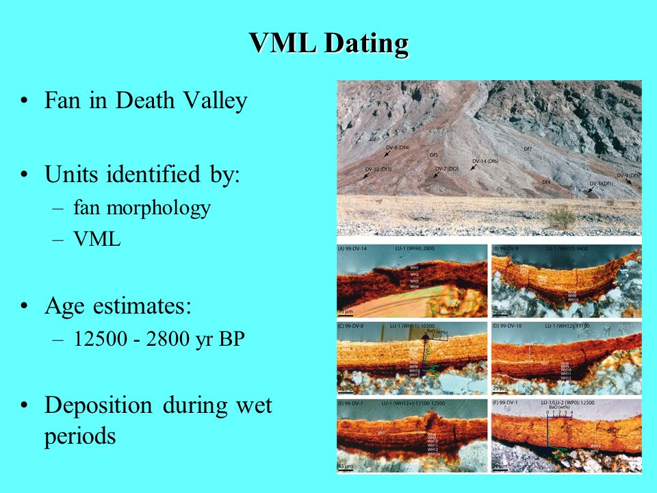 VML Dating Fan in Death Valley Units identified by: –fan morphology –VML Age estimates: –12500 - 2800 yr BP Deposition during wet periods