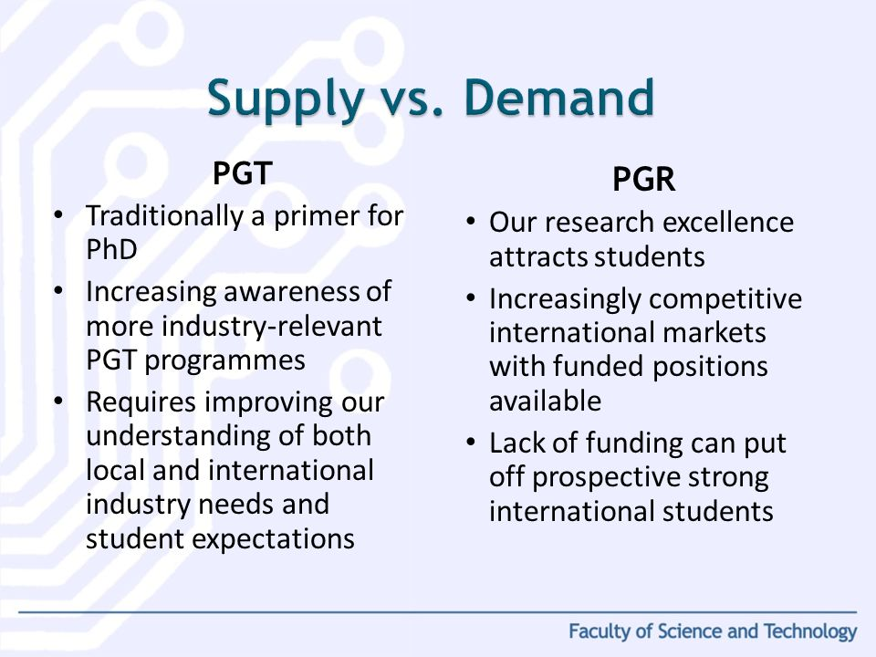 PGT Traditionally a primer for PhD Increasing awareness of more industry-relevant PGT programmes Requires improving our understanding of both local an