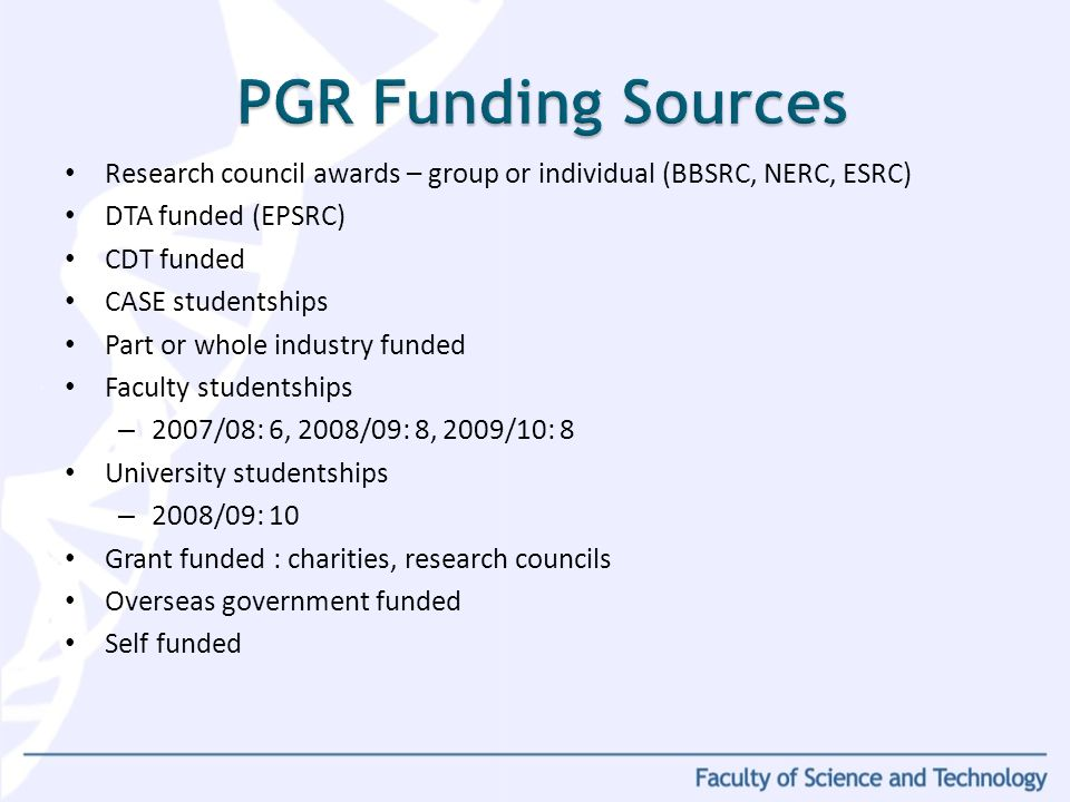 Research council awards – group or individual (BBSRC, NERC, ESRC) DTA funded (EPSRC) CDT funded CASE studentships Part or whole industry funded Faculty studentships – 2007/08: 6, 2008/09: 8, 2009/10: 8 University studentships – 2008/09: 10 Grant funded : charities, research councils Overseas government funded Self funded