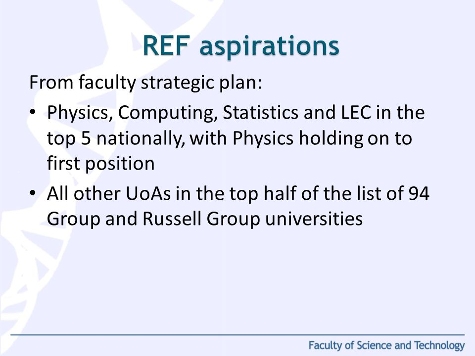 From faculty strategic plan: Physics, Computing, Statistics and LEC in the top 5 nationally, with Physics holding on to first position All other UoAs in the top half of the list of 94 Group and Russell Group universities