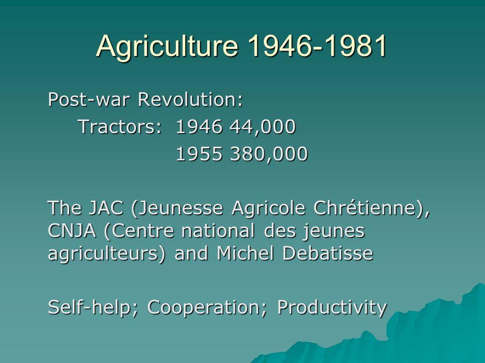 Agriculture 1946-1981 Post-war Revolution: Tractors: 1946 44,000 1955 380,000 The JAC (Jeunesse Agricole Chrétienne), CNJA (Centre national des jeunes