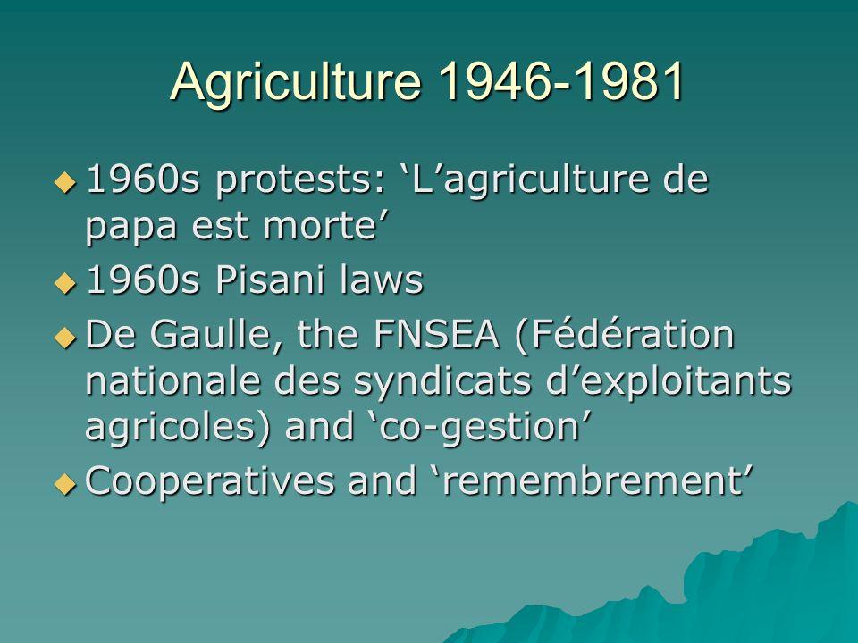 Agriculture 1946-1981 1960s protests: Lagriculture de papa est morte 1960s protests: Lagriculture de papa est morte 1960s Pisani laws 1960s Pisani law