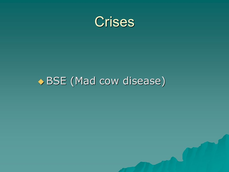 Crises BSE (Mad cow disease) BSE (Mad cow disease)