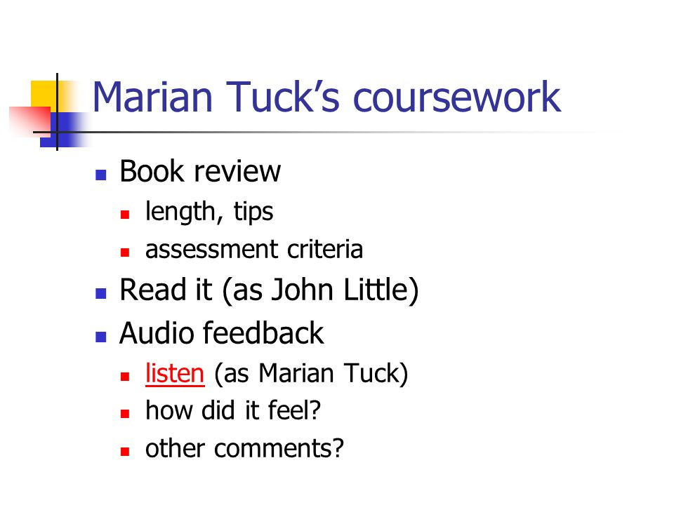 Findings (2) Time to send audio files Problem if many students Some prefer written feedback Should staff oblige.