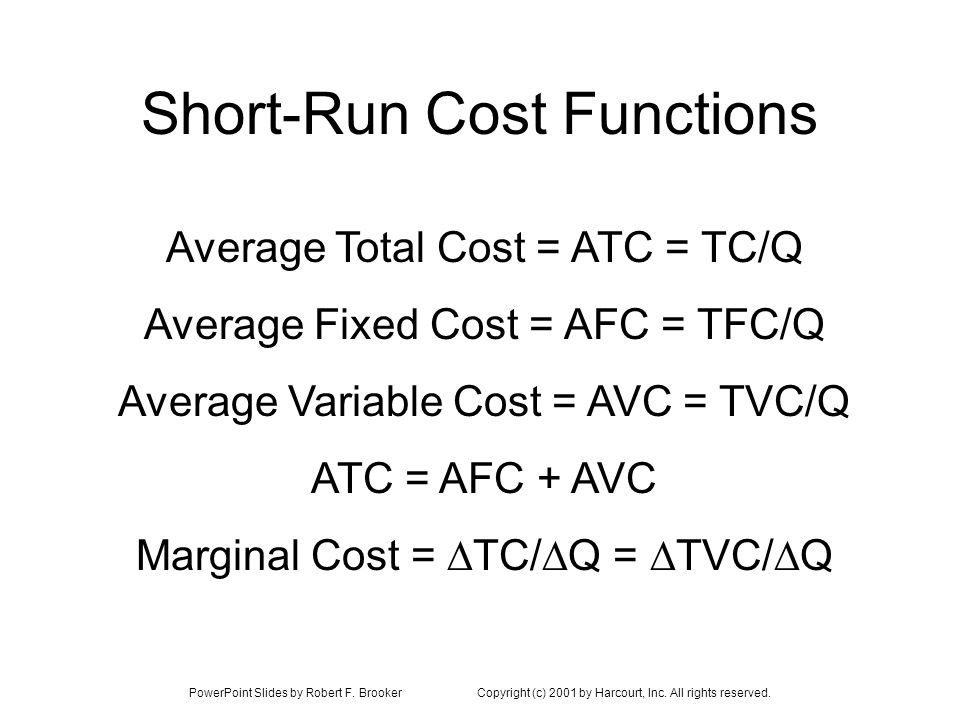PowerPoint Slides by Robert F. BrookerCopyright (c) 2001 by Harcourt, Inc. All rights reserved. Short-Run Cost Functions Average Total Cost = ATC = TC