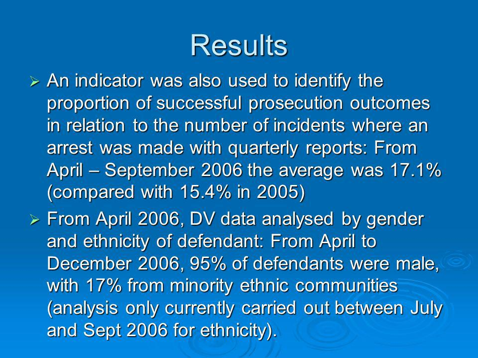Results An indicator was also used to identify the proportion of successful prosecution outcomes in relation to the number of incidents where an arrest was made with quarterly reports: From April – September 2006 the average was 17.1% (compared with 15.4% in 2005) An indicator was also used to identify the proportion of successful prosecution outcomes in relation to the number of incidents where an arrest was made with quarterly reports: From April – September 2006 the average was 17.1% (compared with 15.4% in 2005) From April 2006, DV data analysed by gender and ethnicity of defendant: From April to December 2006, 95% of defendants were male, with 17% from minority ethnic communities (analysis only currently carried out between July and Sept 2006 for ethnicity).