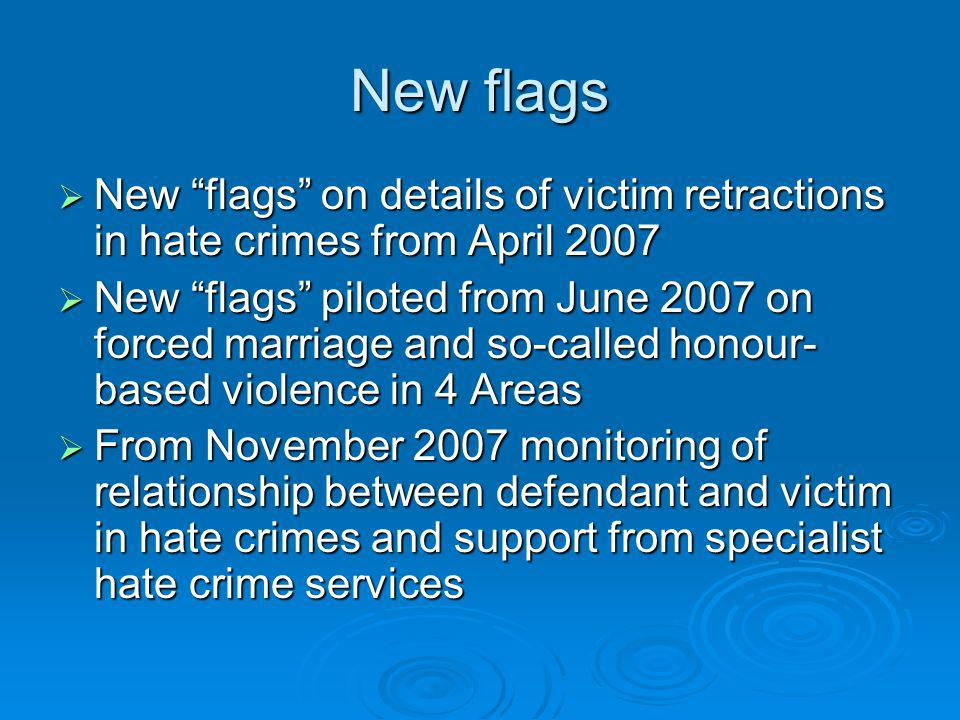 New flags New flags on details of victim retractions in hate crimes from April 2007 New flags on details of victim retractions in hate crimes from Apr