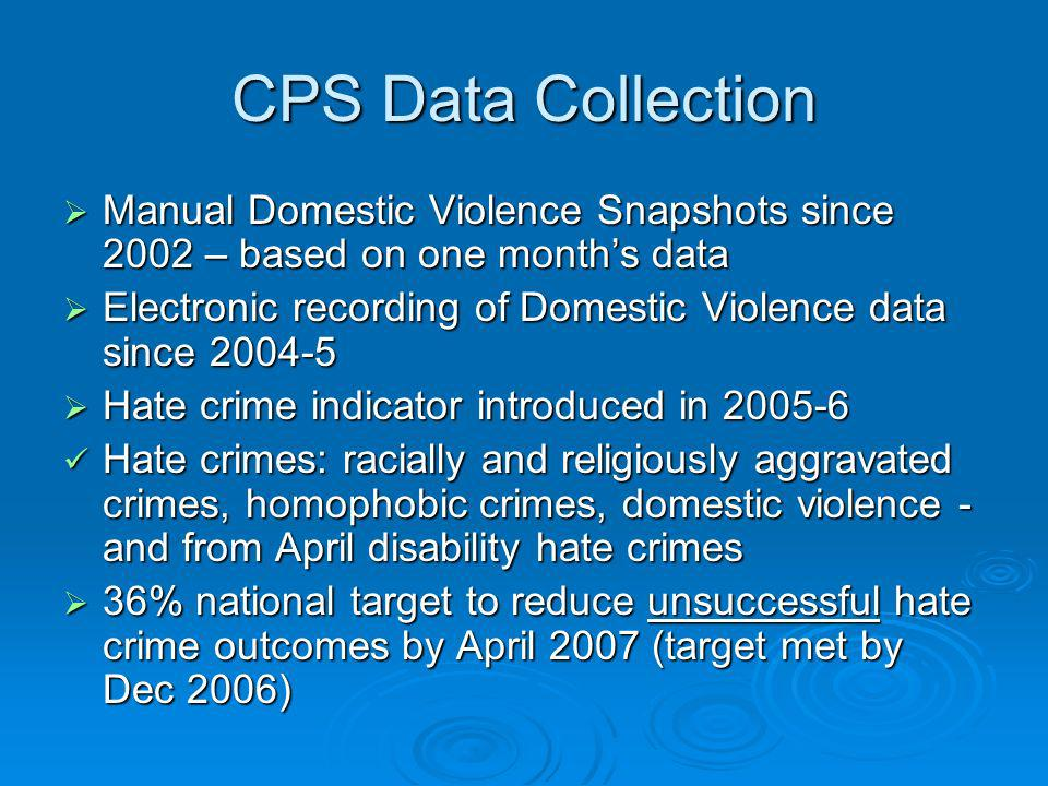 CPS Data Collection Manual Domestic Violence Snapshots since 2002 – based on one months data Manual Domestic Violence Snapshots since 2002 – based on