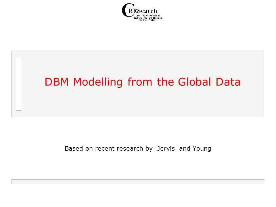 DBM Modelling from the Global Data Based on recent research by Jervis and Young