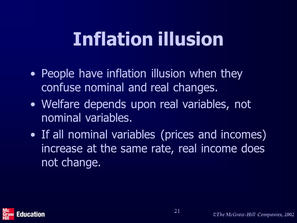 © The McGraw-Hill Companies, 2002 21 Inflation illusion People have inflation illusion when they confuse nominal and real changes.