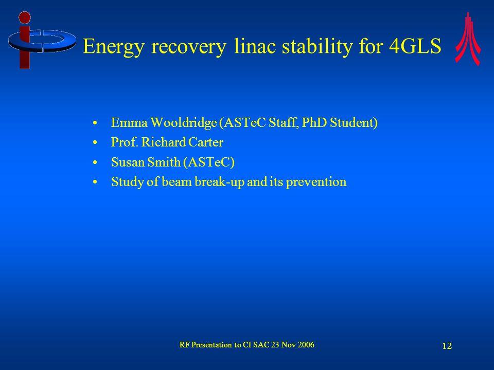 RF Presentation to CI SAC 23 Nov 2006 12 Energy recovery linac stability for 4GLS Emma Wooldridge (ASTeC Staff, PhD Student) Prof. Richard Carter Susa