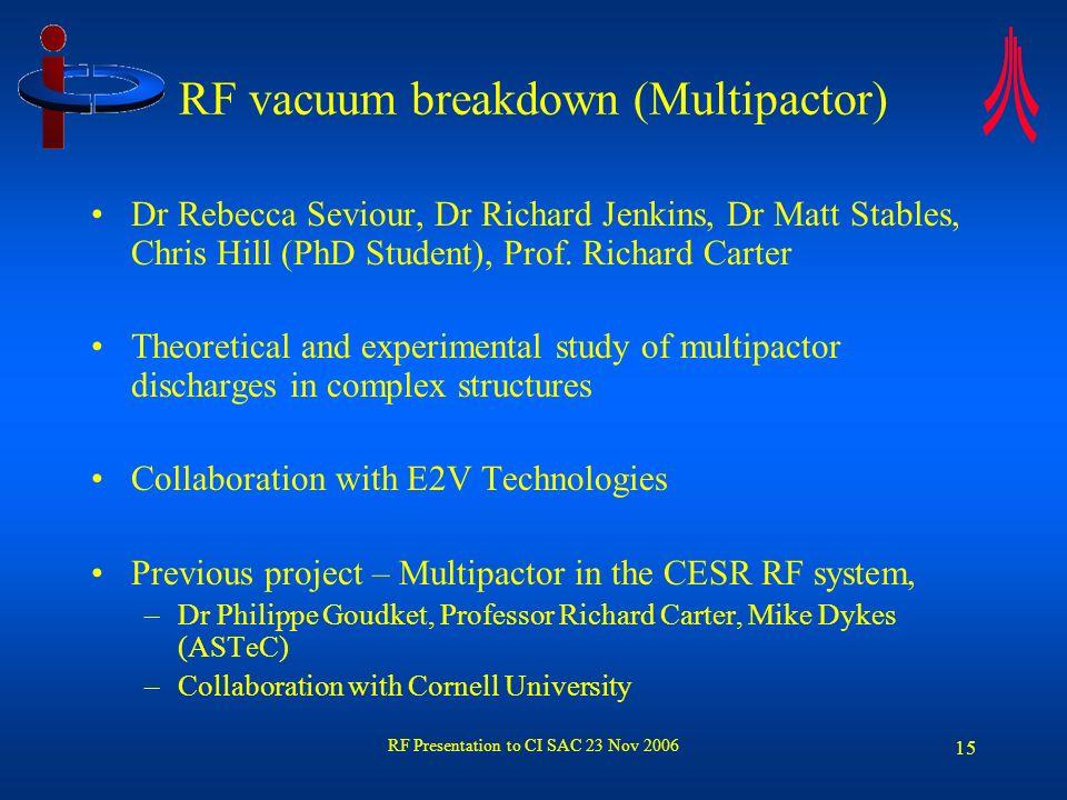 RF Presentation to CI SAC 23 Nov 2006 15 RF vacuum breakdown (Multipactor) Dr Rebecca Seviour, Dr Richard Jenkins, Dr Matt Stables, Chris Hill (PhD St