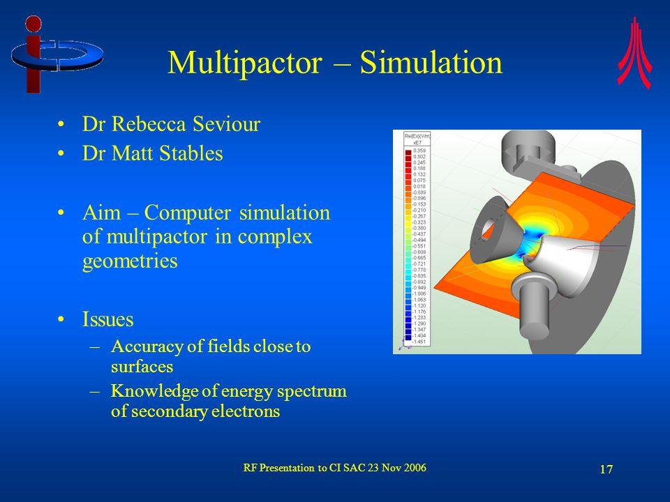 RF Presentation to CI SAC 23 Nov 2006 17 Multipactor – Simulation Dr Rebecca Seviour Dr Matt Stables Aim – Computer simulation of multipactor in compl