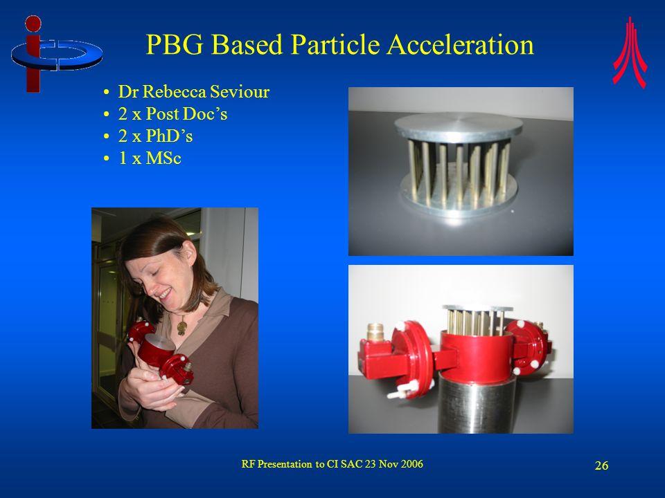 RF Presentation to CI SAC 23 Nov 2006 26 PBG Based Particle Acceleration Dr Rebecca Seviour 2 x Post Docs 2 x PhDs 1 x MSc