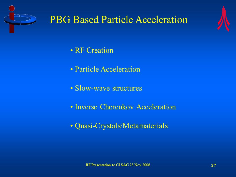 RF Presentation to CI SAC 23 Nov 2006 27 RF Creation Particle Acceleration Slow-wave structures Inverse Cherenkov Acceleration Quasi-Crystals/Metamate
